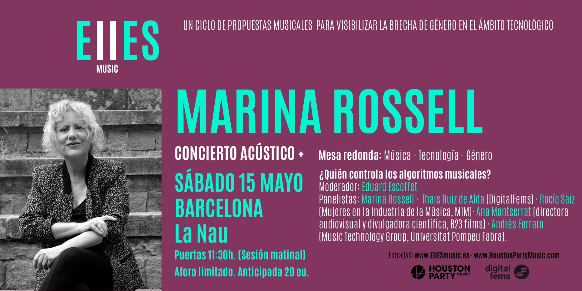 Marina Rossell, el 15 de mayo en La Nau de Barcelona con EllESmusic