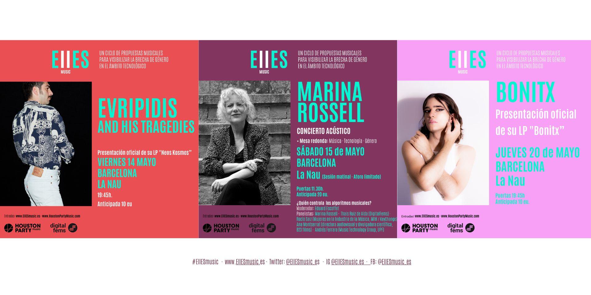 Evripidis And His Tragedies, Marina Rossell y Bonitx, próximas citas de EllESmusic en mayo.
